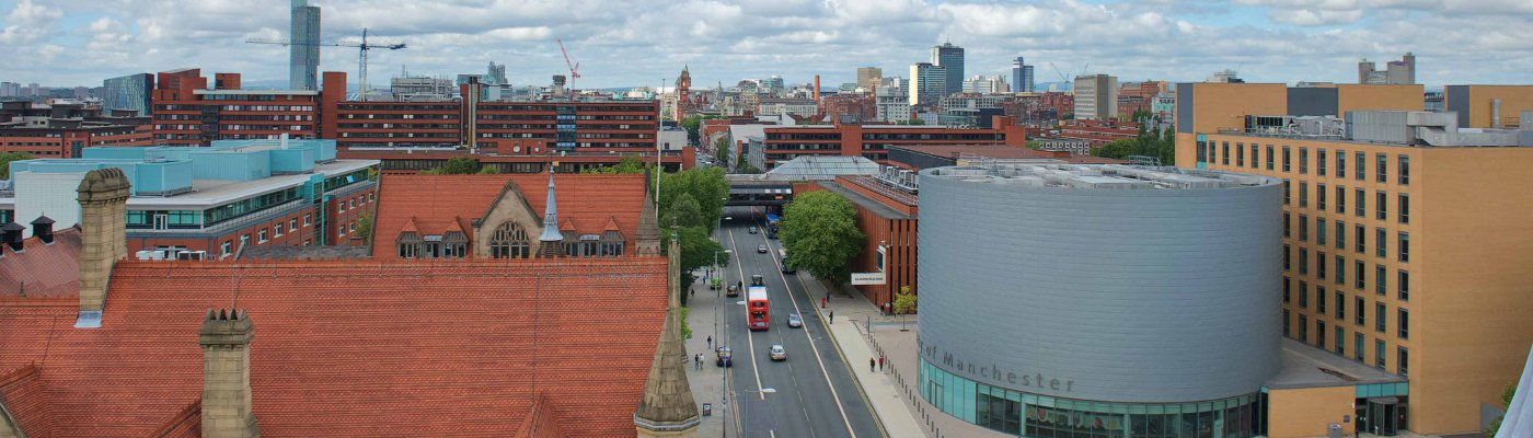 The University of Manchester and city skyline