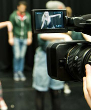 Drama student performing on camera